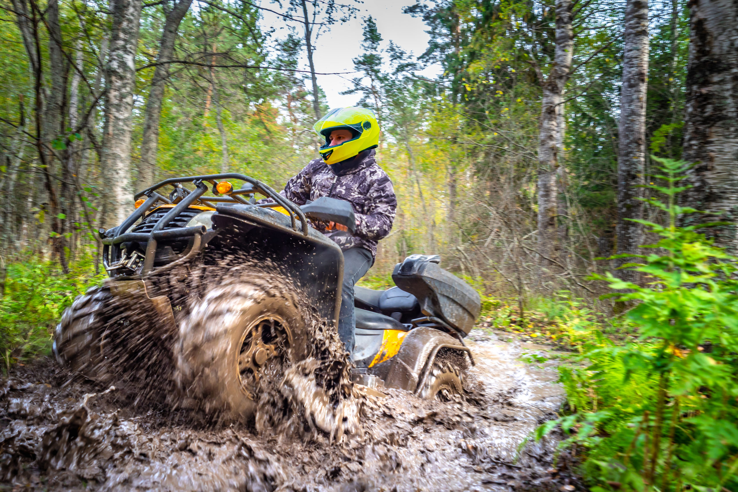 Blog - Man on ATV rides on a dirt road. Powerful transport. Off-road trip. Extreme rest. A trip through the autumn forest. Racing in nature.